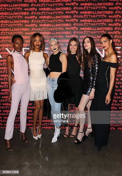 Herieth Paul Jourdan Dunn Gigi Hadid Emily DiDonato Kemp Muhl and Cris Urena attend Maybelline New York celebrates fashion week at Dream Downtown...