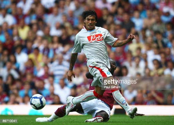 Herita Ilunga of West Ham United battles for the ball with Ezequiel Lavezzi of Napoli during the Bobby Moore Cup between West Ham United and Napoli...