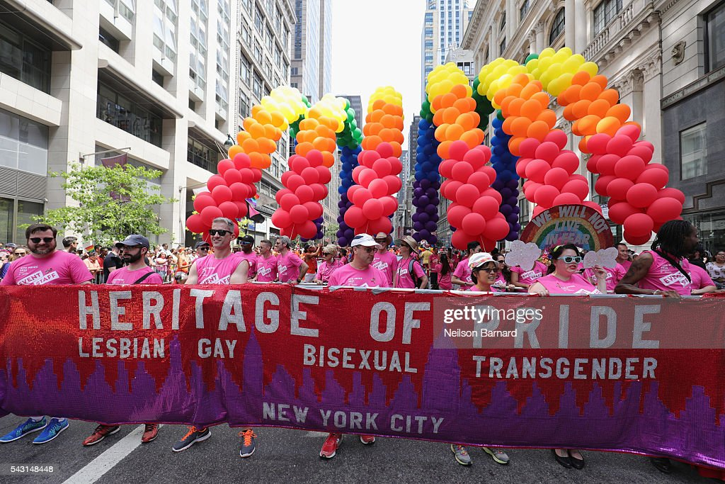 Heritage of Pride marchers during the New York City Pride 2016 march on June 26, 2016 in New York City.
