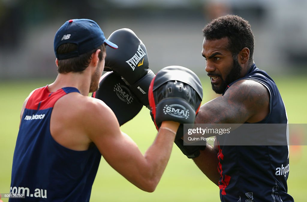 Heritier Lumumba of the Demons boxes during a Melbourne Demons AFL pre-season training session at Gosch's Paddock on February 9, 2016 in Melbourne, Australia.