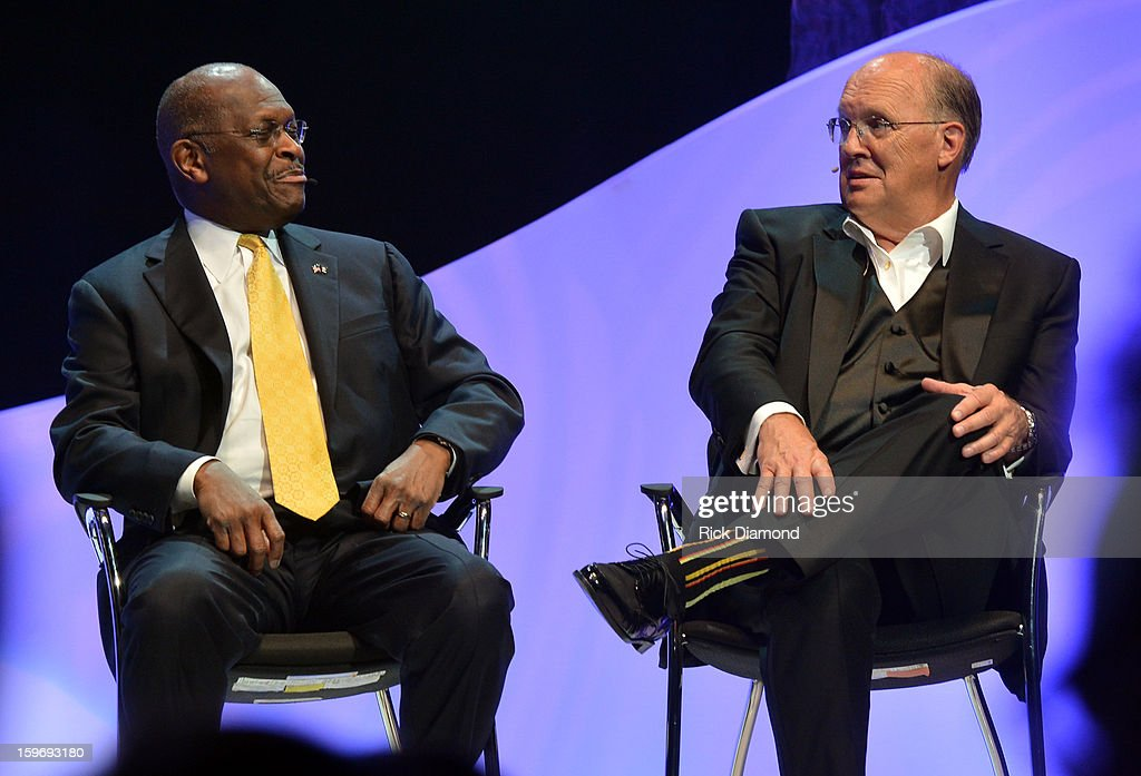 Herman Cain and Honoree Neal Boortz attend The Boortz Happy Ending at The Fox Theater on January 12, 2013 in Atlanta, Georgia.