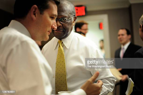 Herman Cain Republican presidential candidate and former GodfatherÕs Pizza CEO waits in the 'green room' before delivering a speech at the Value...