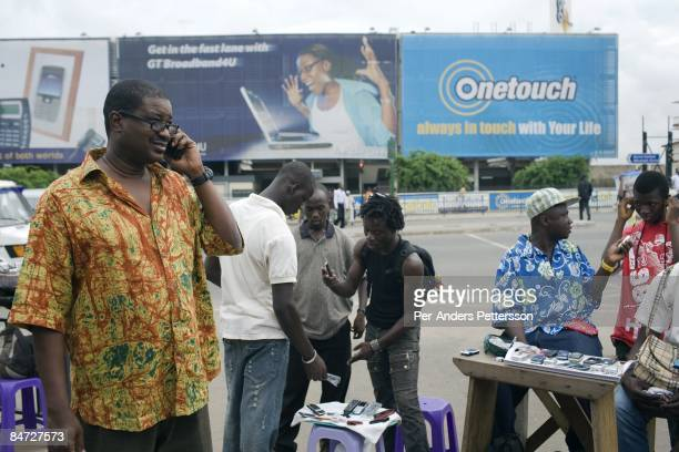 Herman ChineryHesse the founder and CEO of BSL and Soft Tribe talks on his mobile phone on June 14 2008 in central Accra Ghana He has built a...
