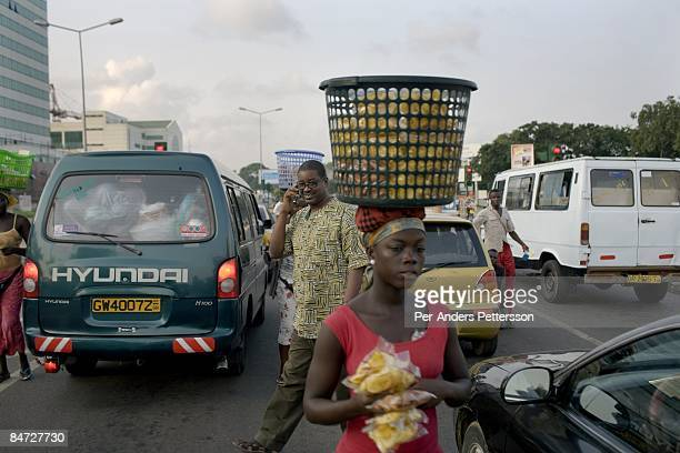 Herman ChineryHesse the founder and CEO of BSL and Soft Tribe talks on his mobile phone on June 12 2008 in central Accra Ghana He has built a...
