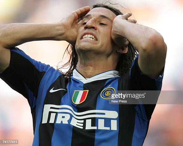 Herman Crespo gestures during the Coppa Italia final second leg match between Internazionale and Roma at the Stadio Giuseppe Meazza on May 17 2007 in...