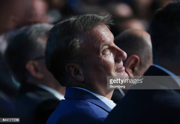 Herman Gref chief executive officer of Sberbank of Russia PJSC attends a panel session at the Moscow Financial Forum in Moscow Russia on Friday Sept...
