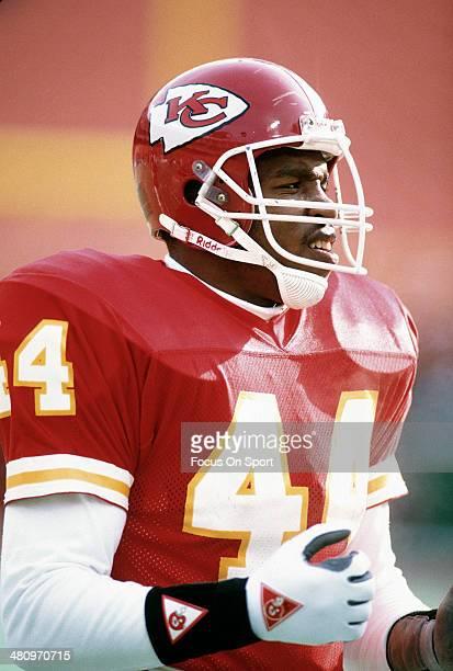 Herman Heard of the Kansas City Chiefs looks on during an NFL Football game circa 1989 at Arrowhead Stadium in Kansas City Missouri Heard played for...