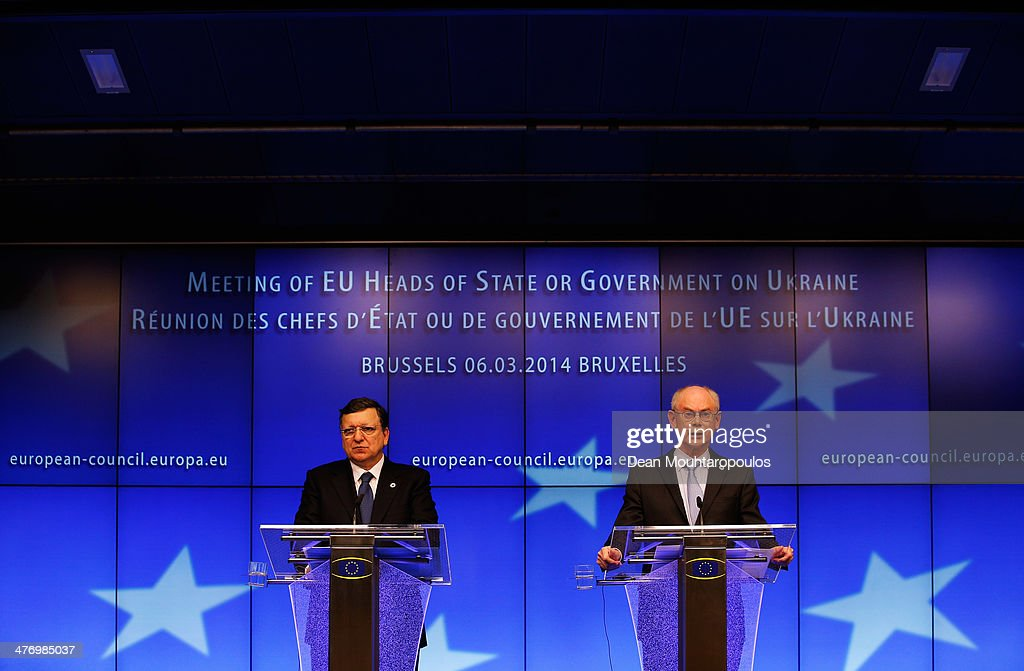 Herman Van Rompuy President of the European Council and Jose Manuel Durao Barroso President of the European Commission speak to the media during a...
