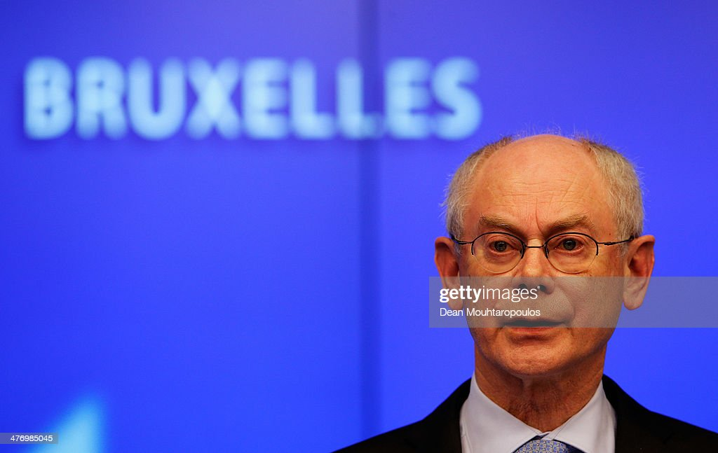 <a gi-track='captionPersonalityLinkClicked' href=/galleries/search?phrase=Herman+Van+Rompuy&family=editorial&specificpeople=4476281 ng-click='$event.stopPropagation()'>Herman Van Rompuy</a>, President of the European Council speaks to the media during a meeting to discuss the situation in Ukraine at the European Union Council Building on March 6, 2014 in Brussels, Belgium. The EU leaders are attending an emergency summit in Brussels to decide how they should respond to the deployment of Russian troops in the Crimea. Russian forces have been on the ground in the Crimea since the change of government in Kiev when President Viktor Yanukovych was forced from power.