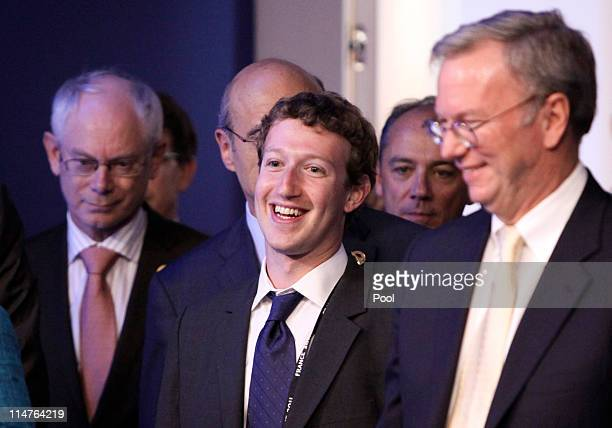Herman Van Rompuy president of the European Union Mark Zuckerberg founder of Facebook Inc and Eric Schmidt chairman of Google Inc arrive for the...