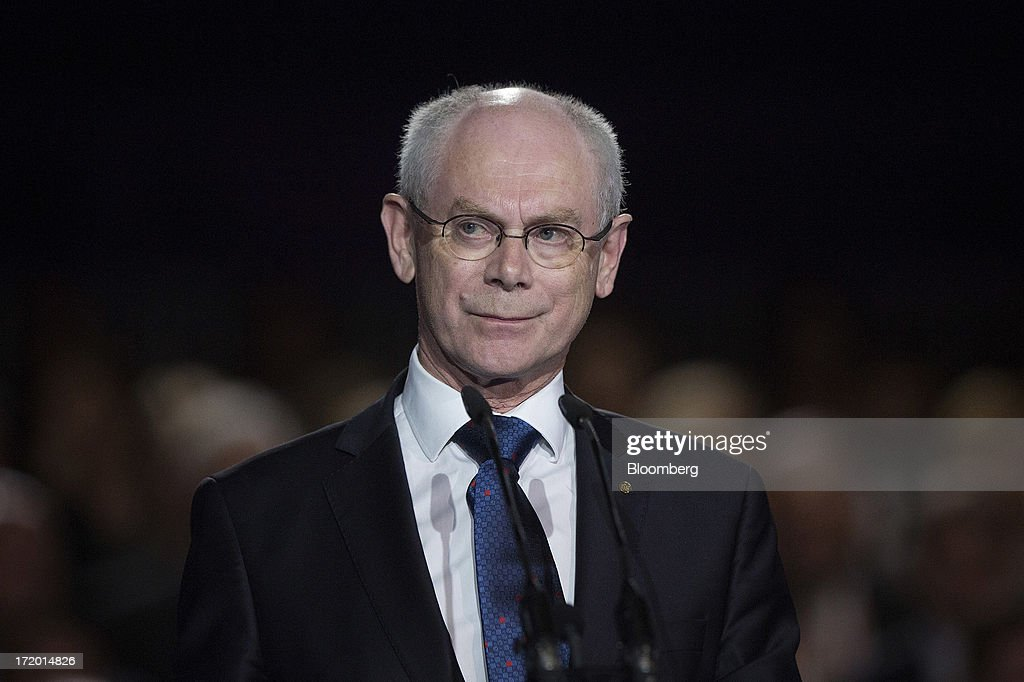 <a gi-track='captionPersonalityLinkClicked' href=/galleries/search?phrase=Herman+Van+Rompuy&family=editorial&specificpeople=4476281 ng-click='$event.stopPropagation()'>Herman Van Rompuy</a>, president of the European Union (EU), speaks on the stage in Ban Jelacic square as the Croatian capital celebrates its entry into the European Union (EU) in Zagreb, Croatia, on Sunday, June 30, 2013. Croatia will become the European Union's 28th member at midnight, the bloc's first addition since Bulgaria and Romania joined in 2007. Photographer: Simon Dawson/Bloomberg via Getty Images