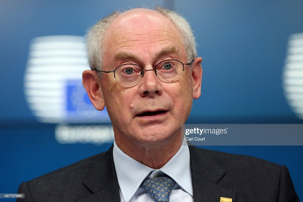 <a gi-track='captionPersonalityLinkClicked' href=/galleries/search?phrase=Herman+Van+Rompuy&family=editorial&specificpeople=4476281 ng-click='$event.stopPropagation()'>Herman Van Rompuy</a>, the outgoing President of the European Council, speaks during a press conference at the beginning of a two-day European Council meeting on October 23, 2014 in Brussels, Belgium. David Cameron has come in for criticism from outgoing European Commission president Jose Manuel Barroso after Downing Street said the Prime Minister will lay out plans to limit the rights of EU migrants to work in Britain as well as announcing a plan to quit the European Court of Human Rights and replace it with a UK Bill of Rights.