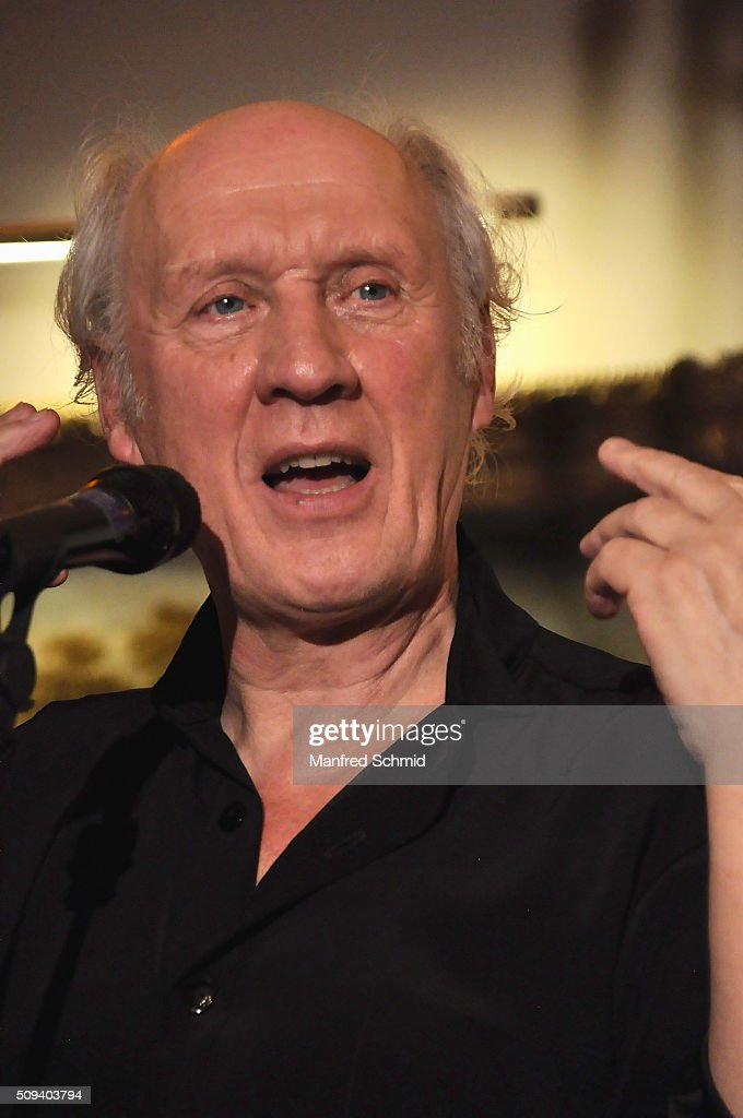 Herman van Veen performs on stage during the release of his record 'Fallen oder Springen' at the Dutch embassy on February 10 2016 in Vienna Austria