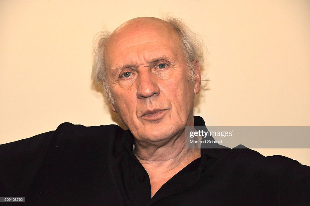 Herman van Veen poses during the release of his record 'Fallen oder Springen' at the Dutch embassy on February 10 2016 in Vienna Austria