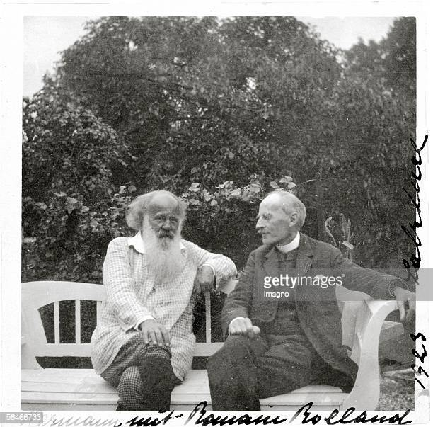 Hermann Bahr and Romain Rolland during a visit at the house of Stefan Zweig Austria Photography 1923 [Hermann Bahr und Romain Rolland zu Besuch bei...