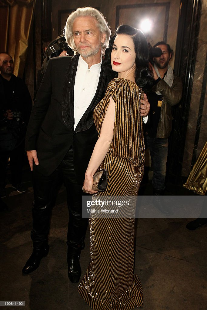Hermann Buehlbecker and Dita van Teese attend the 'Lambertz Monday Night' at 'Alter Wartesaal' on January 28, 2013 in Cologne, Germany.