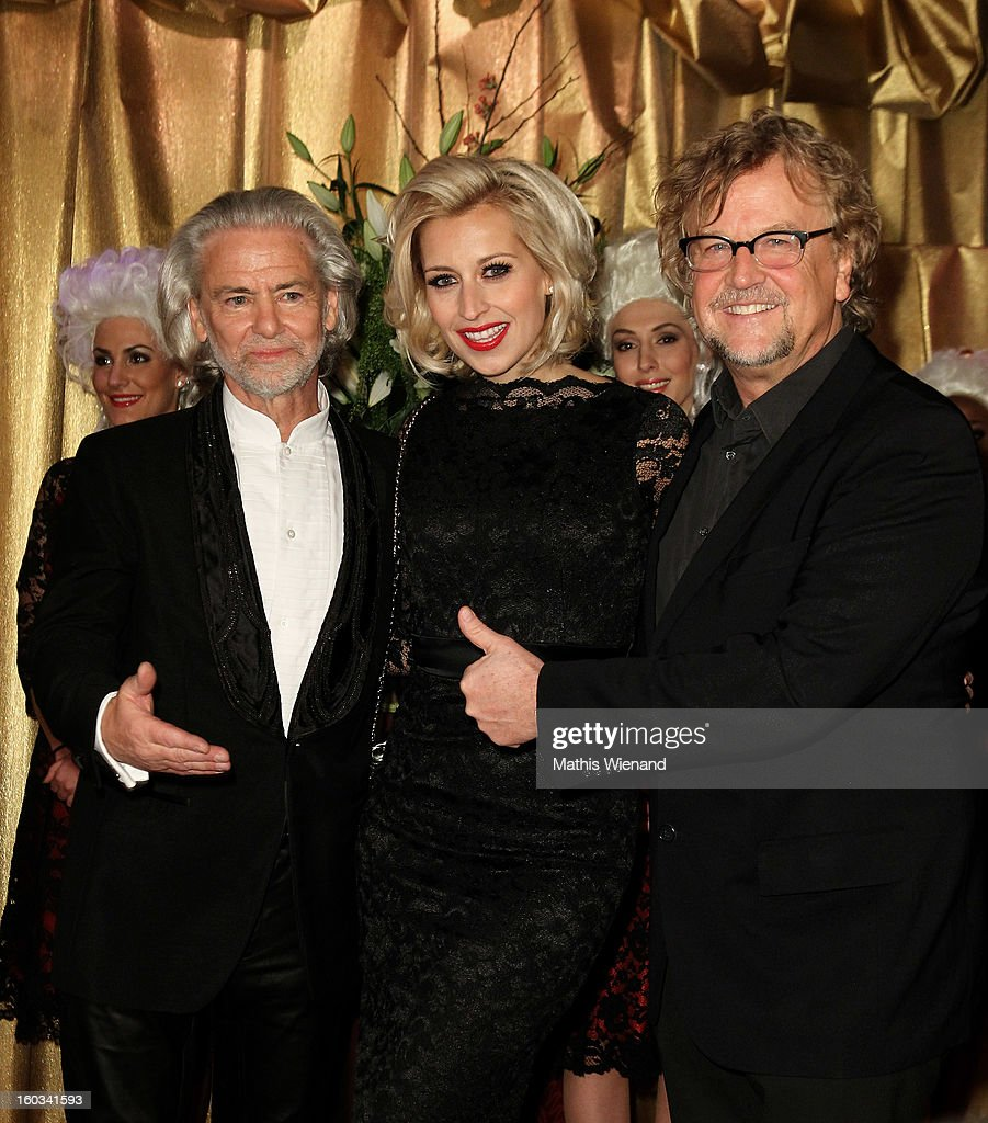 Hermann Buehlbecker, Verena Kerth and Martin Krug attend the 'Lambertz Monday Night' at 'Alter Wartesaal' on January 28, 2013 in Cologne, Germany.