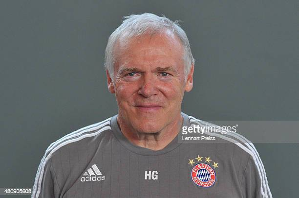 Hermann Gerland assistant coach poses during the team presentation of FC Bayern Muenchen at Bayern's training ground Saebener Strasse on July 16 2015...