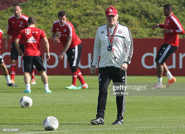 Hermann Gerland assistantcoach of Bayern looks on during day 5 of Bayern Muenchen Training Camp held at the Aspire Academy for Sports Excellence on...