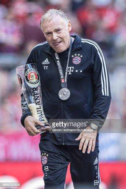 Hermann Gerland of Muenchen reacts after the Bundesliga match between Bayern Muenchen and SC Freiburg at Allianz Arena on May 20 2017 in Munich...