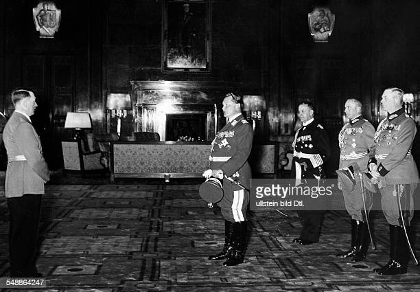 Hermann Goering and the commander in chief of the armed forces convey Adolf Hitler congratulations Adolf Hitler Hermann Goering Erich Raeder Walther...