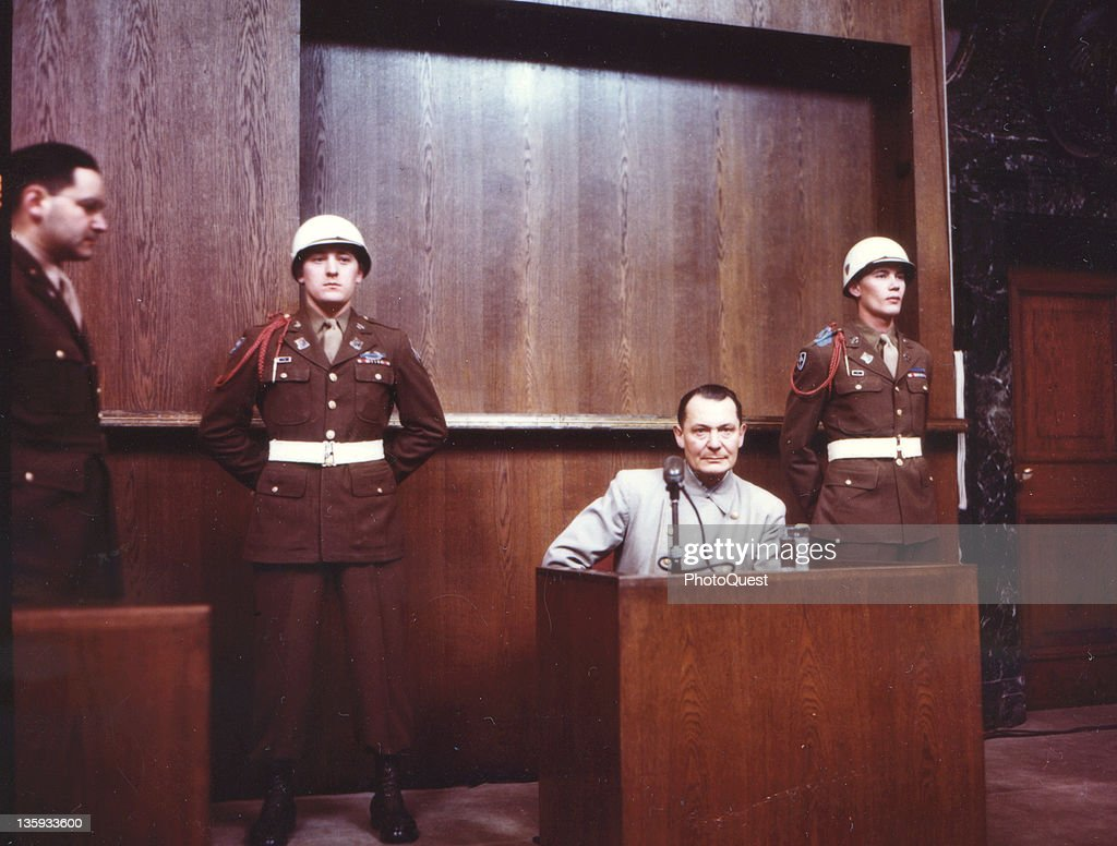 <a gi-track='captionPersonalityLinkClicked' href=/galleries/search?phrase=Hermann+Goering&family=editorial&specificpeople=93518 ng-click='$event.stopPropagation()'>Hermann Goering</a> testifies in his own defense during the war crimes trial of high-ranking Nazi leaders, Nuremberg, Germany, 1946.