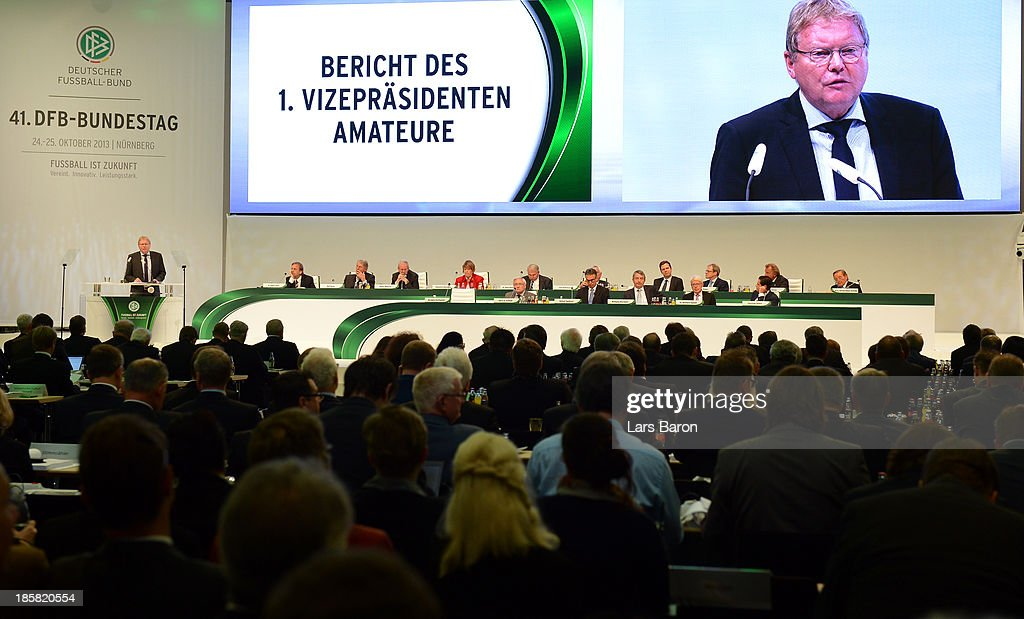 Hermann Korfmacherl addresses the DFB Bundestag Day 2 at NCC Nuremberg on October 25, 2013 in Nuremberg, Germany.