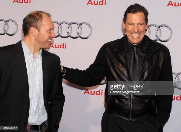Hermann Maier and Ralf Moeller attend the Audi Night at Hotel 'Zur Tenne' on January 22 2010 in Kitzbuehel Austria