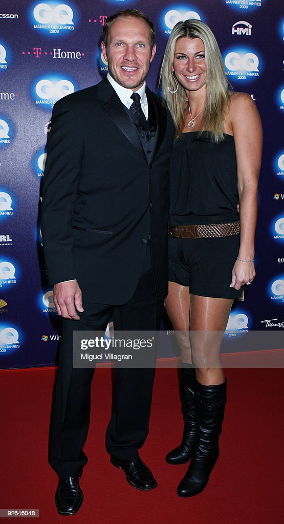 Hermann Maier and Steffi Sturm arrive on the red carpet prior to the GQ Men Of The Year 2009 award ceremony on November 3 2009 in Munich Germany