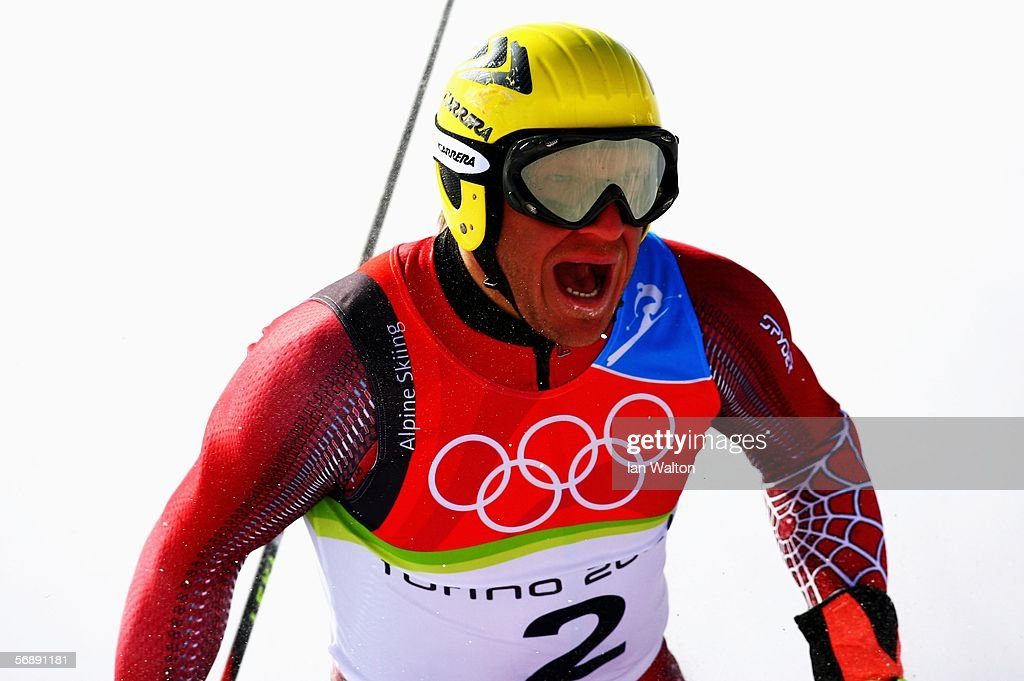Hermann Maier celebrates winning the Bronze Medal after finishing third in the Mens Alpine Skiing Giant Slalom competition on Day 10 of the 2006...