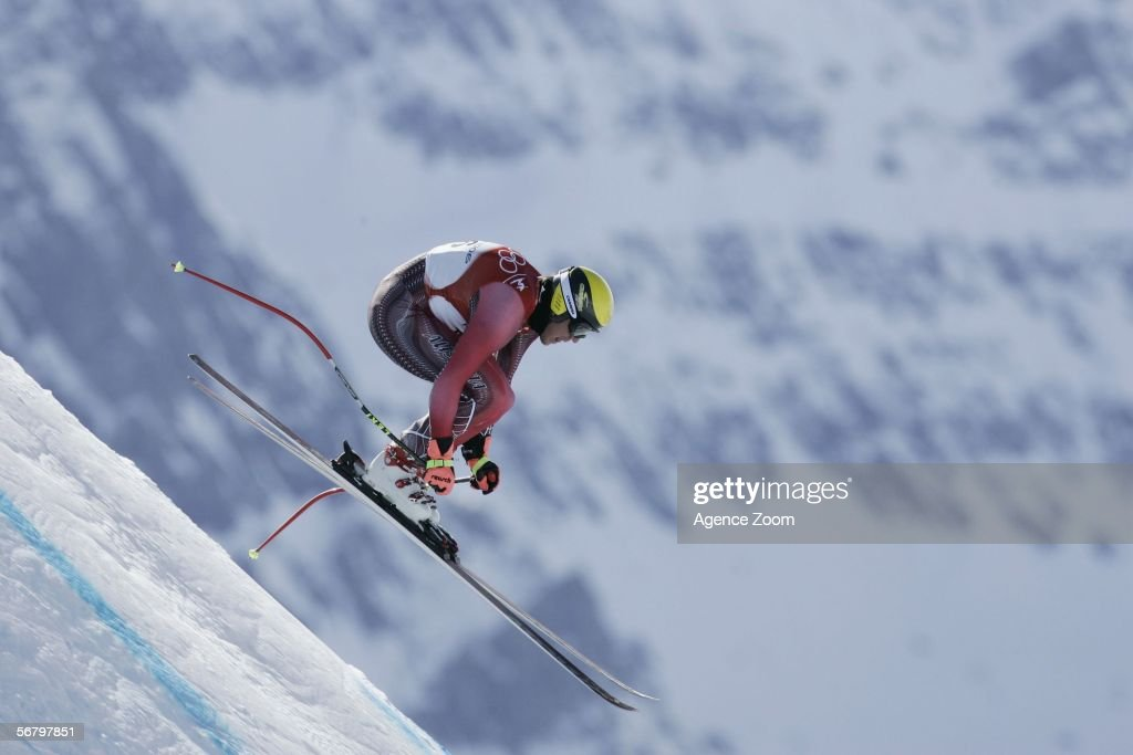 Hermann Maier from Austria in action during the Men's Downhill training at the Turin 2006 Winter Olympic Games on February 9th 2006 in Sestriere...