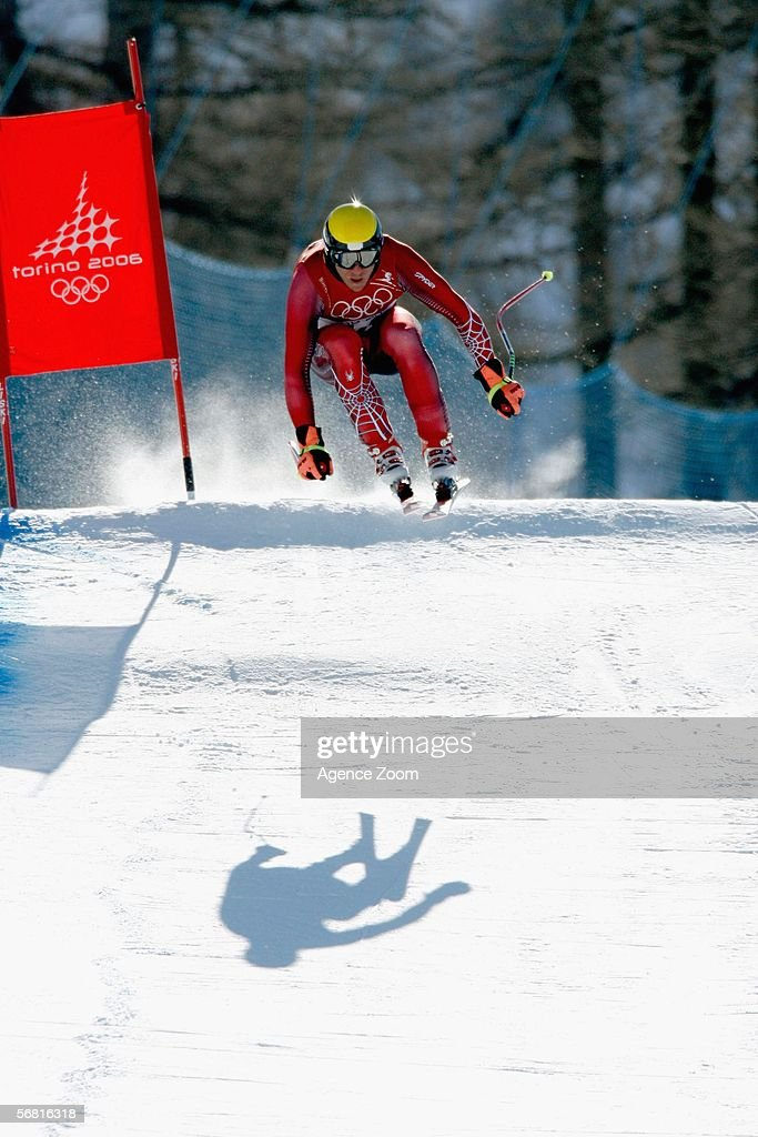 Hermann Maier from Austria skis in the Men's Downhill training during the day of the Opening Ceremony of the Turin 2006 Winter Olympic Games on...