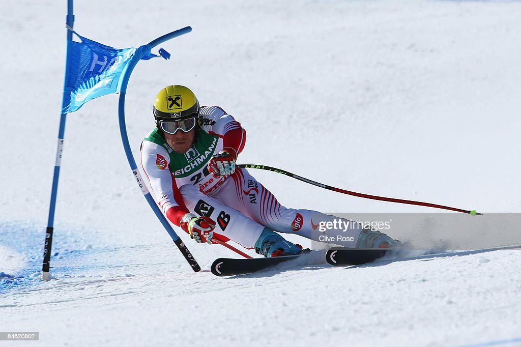 Hermann Maier of Austria competes during the Men's Super G event held on the Face de Bellevarde course on February 4 2009 in Val d'Isere France