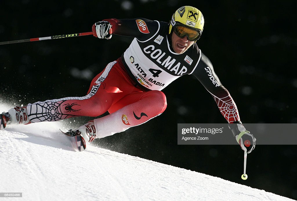 Hermann Maier of Austria competes in the Men's Giant Slalom event during the FIS Skiing World Cup on December 18 2005 in Alta Badia Italy