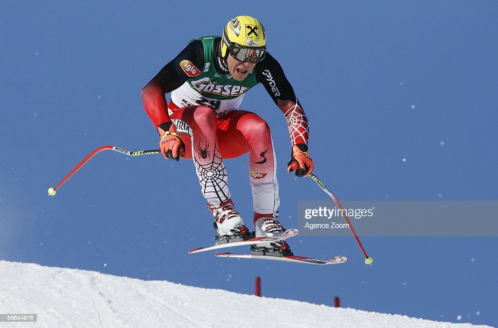 Hermann Maier of Austria in action as he takes 1st place during the FIS Skiing World Cup Men's SuperG on January 20 2006 in Kitzbuehel Austria