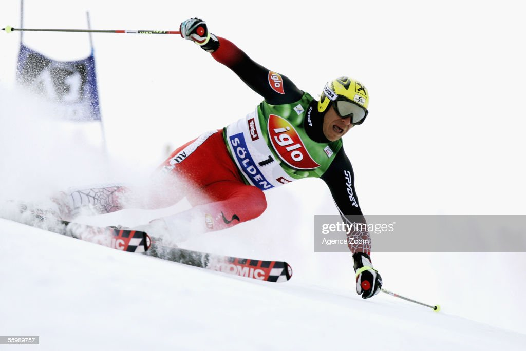 Hermann Maier of Austria in action during the giant slalom of the FIS Ski World Cup on October 23 2005 in Soelden Austria