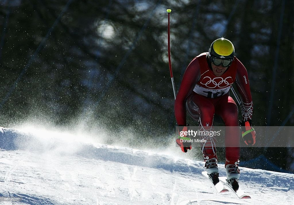 Hermann Maier of Austria skis during the Men's Downhill training prior to the Turin 2006 Winter Olympic Games on February 9 2006 in Sestriere Borgata...