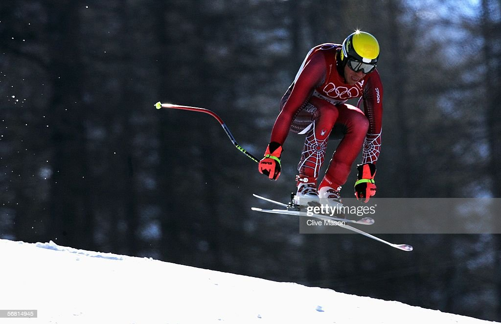 Hermann Maier of Austria skis in the Men's Downhill training during the day of the Opening Ceremony of the Turin 2006 Winter Olympic Games on...