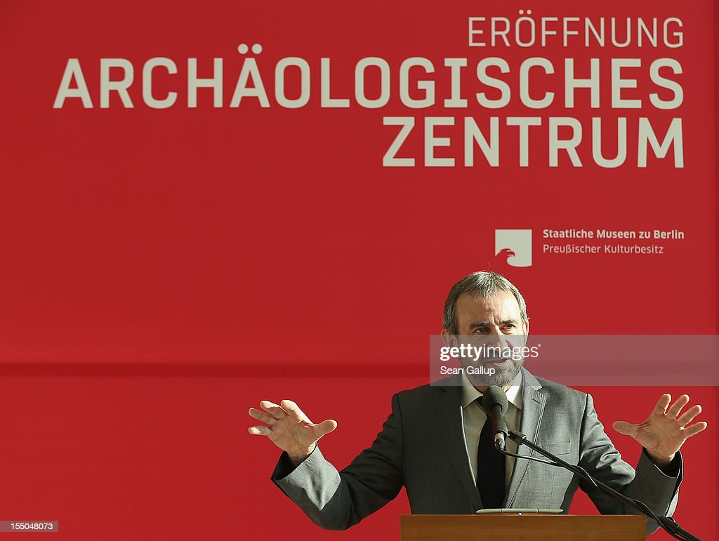Hermann Parzinger, President of the Prussian Cultural Heritage Foundation,speaks at the opening of the new Archaeology Center (Archaeologisches Zentrum) on October 31, 2012 in Berlin, Germany. The center, which houses archives, research, laboratory and restoration faicilites, will serve the city's five archaeological museums. Germany has a rich history of leading archaeological excavations across the globe.