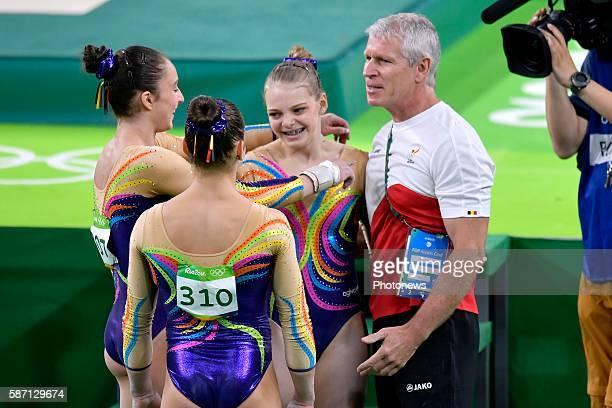 Hermans Rune Derwael Nina Kieffer Yves and Waem Laura pictured at the Artistic Gymnastics Women's Team qualification during the Rio 2016 Summer...