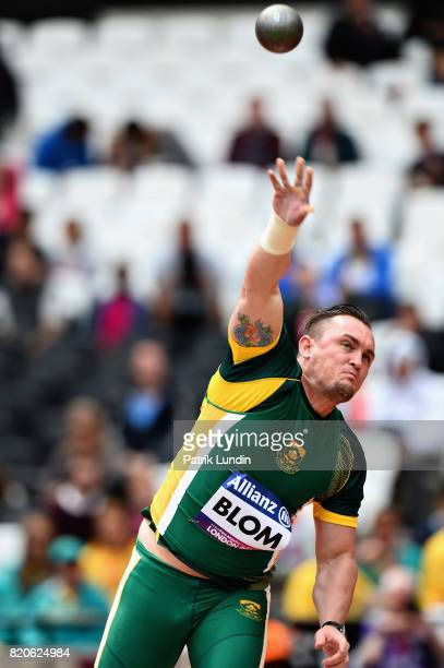 Hermanus Blom of South Africa competes in the Mens shot put F12 final during day nine of the IPC World ParaAthletics Championships 2017 at London...