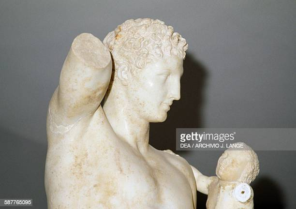 Hermes and the Infant Dionysus ca 350330 BC detail from the Parian marble statue by Praxiteles from the Heraion in Olympia Greece Greek civilisation...