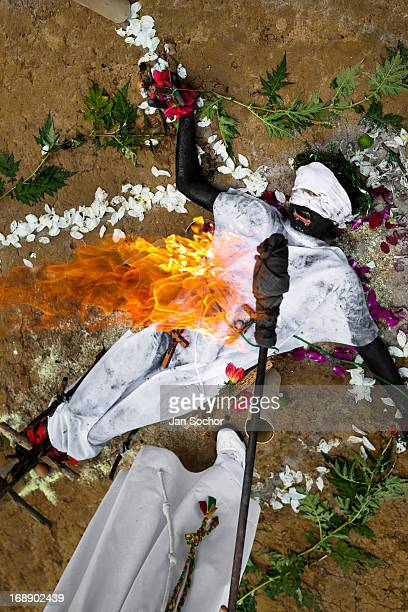 Hermes Cifuentes a Colombian spiritual healer performs a ritual of exorcism on Diana R who claims to be possessed by spirits on 28 May 2012 in La...