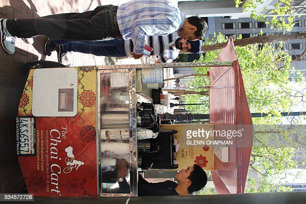 Hermes Xiang serves up an afternoon chai from a Chai Cart on Market Street in the heart of San Francisco on May 26 2016 In a Silicon Valley culture...