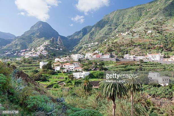 Hermigua, Roques de San Pedro Rock, terraecd fields, La Gomera, Canary Islands, Spain, Europe