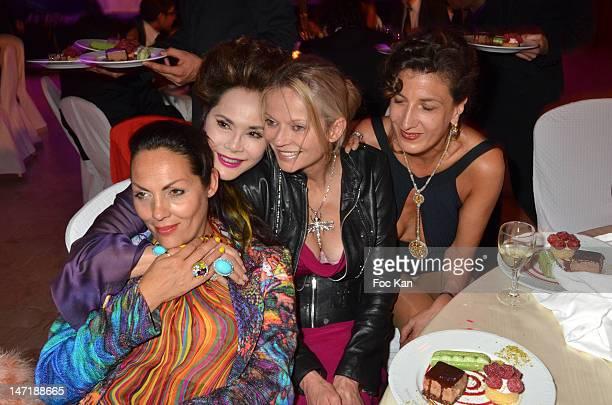 Hermine de Clermont Tonnerre Dewi Sukarno Helene de Yougoslavie and Rita Sprickmann attend the Chateau de Saint Cloud Gala Auction Dinner at the...