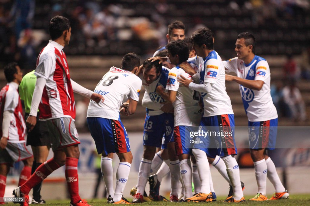 Herminio Miranda of Puebla celebrates a goal during a match between Puebla and Lobos BUAP as part of the Copa MX 2012 at Cuauhtemoc Stadium on August 07, 2012 in Puebla, Mexico.