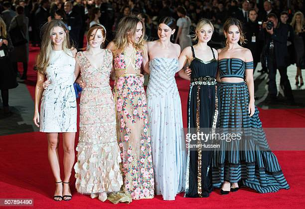 Hermione Corfield Ellie Bamber Suki Waterhouse Millie Brady Bella Heathcote and Lily James attends the red carpet for the European premiere for...