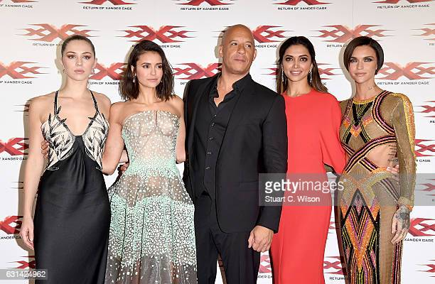 Hermione Corfield Nina Dobrev Vin Diesel Deepika Padukone and Ruby Rose attend the European Premiere of Paramount Pictures' 'xXx Return of Xander...