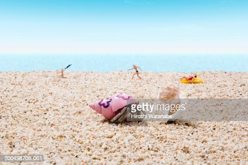 Hermit crab and figurines on beach (focus on crab in foreground) : Stock Photo
